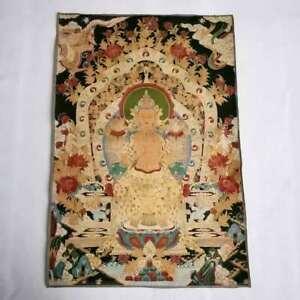 36-034-Tibet-Tibetan-Cloth-Silk-Buddhism-Guanyin-Kwan-yin-Tangka-Thangka-Mural