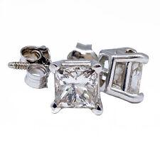 1.00 T.C.W Princess Cut Natural Diamond Stud Earring 14k White Gold