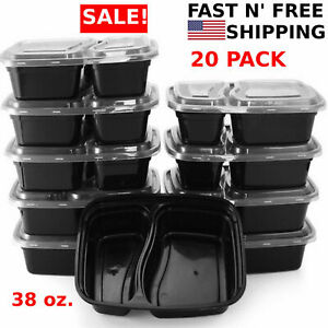 20-Meal-Prep-Containers-2-Compartment-Food-Storage-Plastic-Reusable-Microwavable