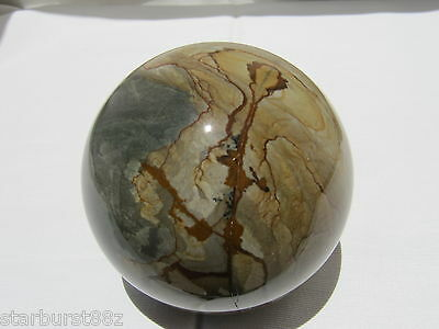 "3.16"" WILD HORSE PICTURE JASPER SPHERE NATURAL RARE STONE BALL OREGON 80mm"