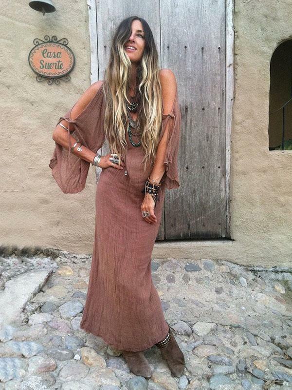 Kleid maxi große kleid Rosa hülle lang weich bohoo bohemia 5164