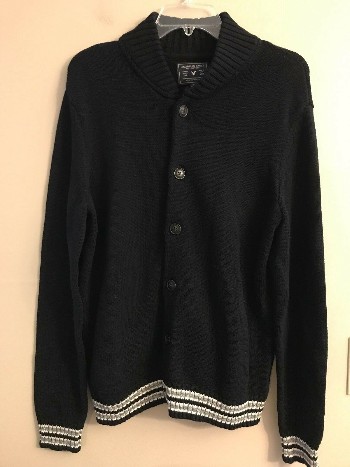 NWT AMERICAN EAGLE Men's Bomber Cardigan Sweater Navy bluee M L XL Available
