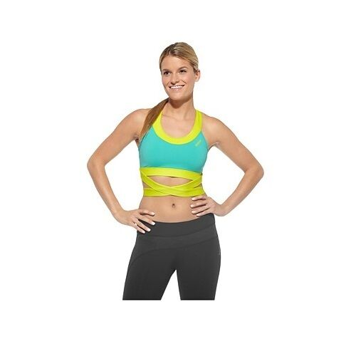 Reebok Ladies Dance Wrap Bra Tops Sports Aerobics Running Womans Blue Yellow