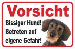 Bissiger Hund Dackel Rauhaar Schild Vorsicht 15x20-40x60cm Teckel