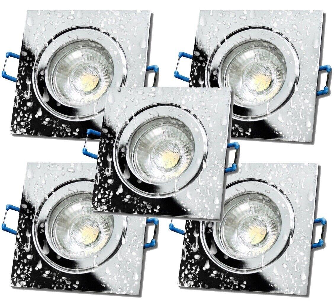 Chrom Chrom Chrom   LED Bad Einbauleuchten Aqua44-Q   230V   7W   Dimmbar   IP44   450 Lumen     | Sehr gute Farbe  | Modernes Design  | Langfristiger Ruf  7e0425