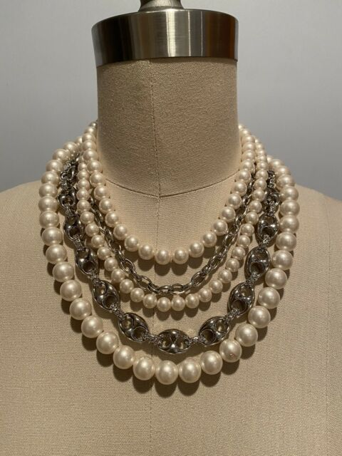 On Sale Faux Pearl and Silver Toned Beaded Floating Necklace 18 inch Choker Costume Jewelry