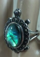 """Vintage Turtle Ring, Size 6.50, Marcasite & Blue Abalone 1.12"""" Tall"""