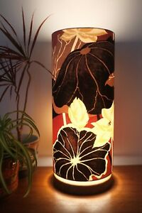 Hand Turned Wooden Lamp with Retro Sanderson Fabric, Extra Tall Lampshade