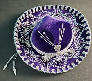 AUTHENTIC-SALAZAR-YEPEZ-PURPLE-SOMBRERO-MEXICAN-MARIACHI-HAT-SMALL-SILVER-WHITE