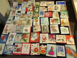 Used-Christmas-Greeting-Cards-LOT-1930-039-s-to-1960-039-s-Great-Variety-59pc-D8c