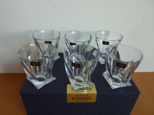 6 verres à whisky Quadro CRISTAL DE BOHEME crystalite boite cadeau en promo