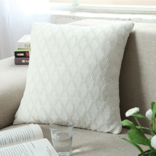 5 Color Cotton Knitted Diamonds Cushion Cover Sofa Lounge Decorative Pillow Case