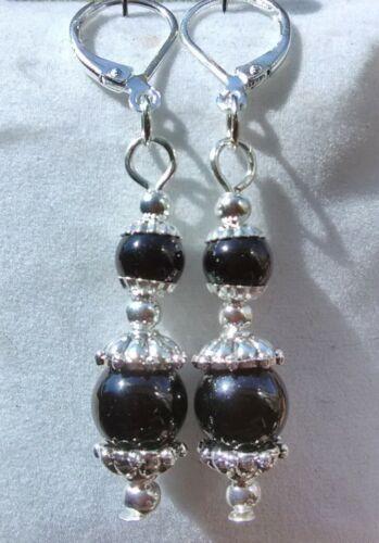 Black Onyx goutte pendantes avec argent sterling 925 Levier Arrière Boucles d/'oreilles