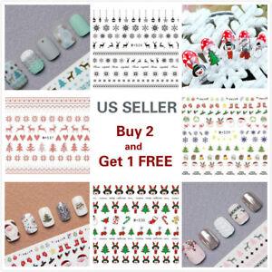 3D-Nail-Art-Stickers-Water-Decals-Cartoon-Christmas-Set