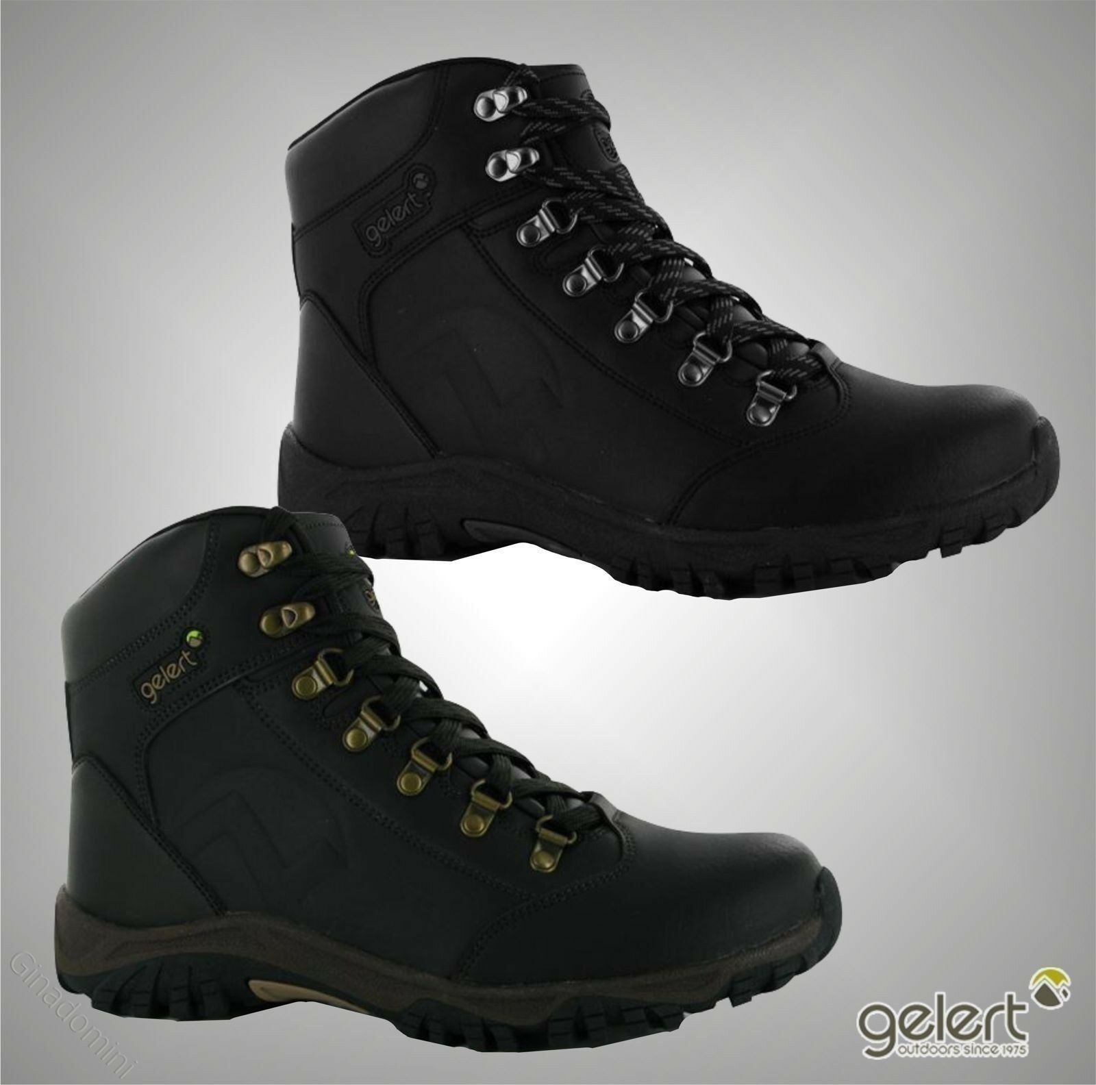 New Mens Branded Gelert Lace-Up Leather Walking Boots Outdoor Footwear Size 7-13