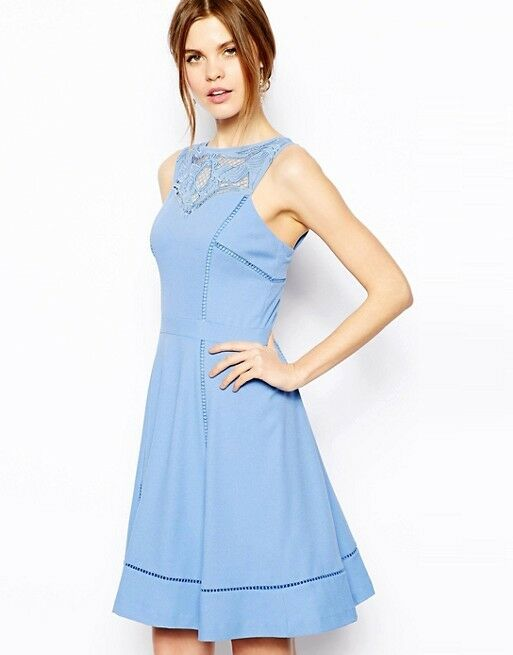 Warehouse Cutwork Yoke Ladder Detail Dress Light bluee 10