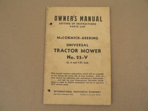 Details about  /McCormick Deering 25-V Tractor Mower Owners Manual International Harvester 1945