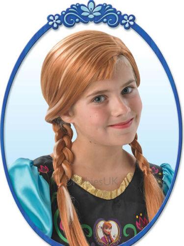 Girls Disney Anna Frozen Brown Brunette Plaited Fancy Dress Costume Outfit Wig