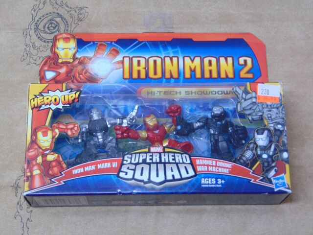 War Machine Drone Hasbro Iron Man 2 Super Hero Squad Mini Figure 3Pack HiTech Showdown Mark VI