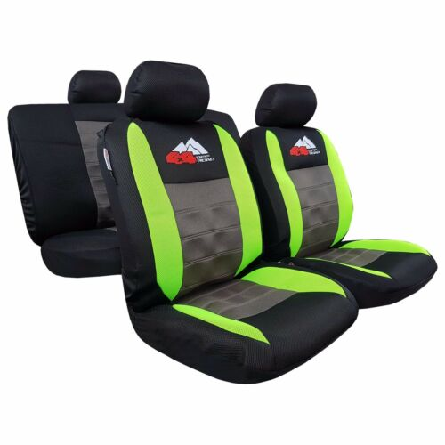 9pcs Embroidery 4wd Off-Road Fluro Green Black Mesh Car Seat Covers For Pickups