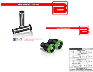 BARRACUDA-Handgriffe-Silber-Gegengewichte-gruen-BLux-fuer-alle-Motorrad-Beta