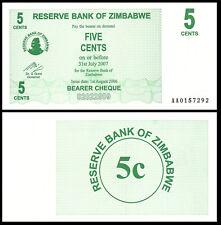 ZIMBABWE 5 CENTS DOLLARS 2007 P 34 UNC