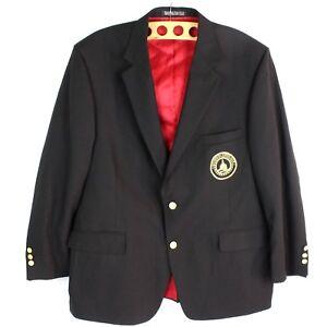 Country Club Golf Blazer Custom USA MADE Tailored 48R Black 2 Button Sport Coat