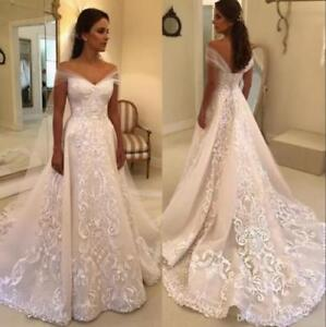 fd9da2204f37f Image is loading Elegant-Wedding-Dresses-Off-Shoulder-Applique-Backless- Bridal-