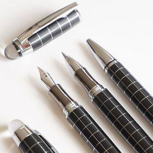 3x-Baoer-79-Crystal-Checkered-Fountain-Rollerball-Ballpoint-Pen-Set-UK-SOLD
