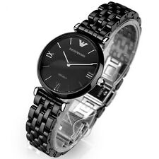 NEW EMPORIO ARMANI AR1487 LADIES BLACK CERAMIC WATCH - 2 YEAR WARRANTY