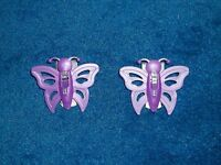 Lot Of 2 Purple Butterfly Refrigerator Magnet Bag Clips Paper Clips Gift Idea