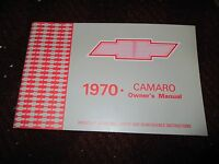 1970 Chevrolet Camaro And Ss / Rs Factory Original Owners Manual Nice