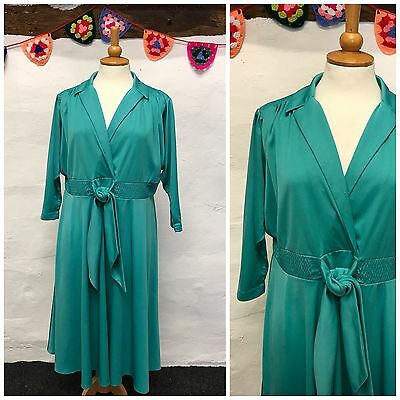 VINTAGE TURQUOISE DRESS BATWING SLEEVE FULL SKIRT DISCO 70s PLUS SIZE 18 20