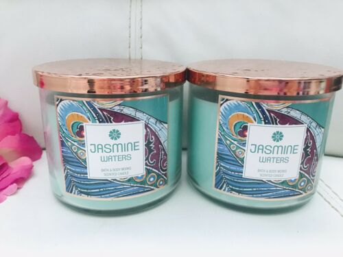 New 2x Bath /& Body Works Jasmine Waters 3 Wick Large Candle 14.5 oz Rare Finds