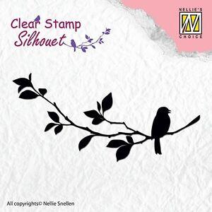 Motivstempel-Clearstamp-Birdsong-1-Vogel-auf-Ast-Nr-1-Nellie-Snellen-SIL005