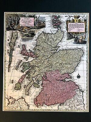 1735 Scotland - Schottland / Seutter Hand Kolorierte Landkarte, Very Big Map