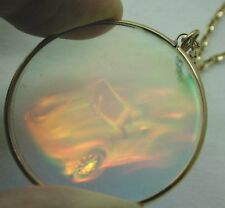 Vintage Most Unusual Large Glass Car Hologram Pendant On 9ct Gold Chain
