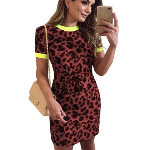 Damen Leopard Sommerkleid Freizeitkleid Minikleid Clubwear Kleid Bleistiftkleid