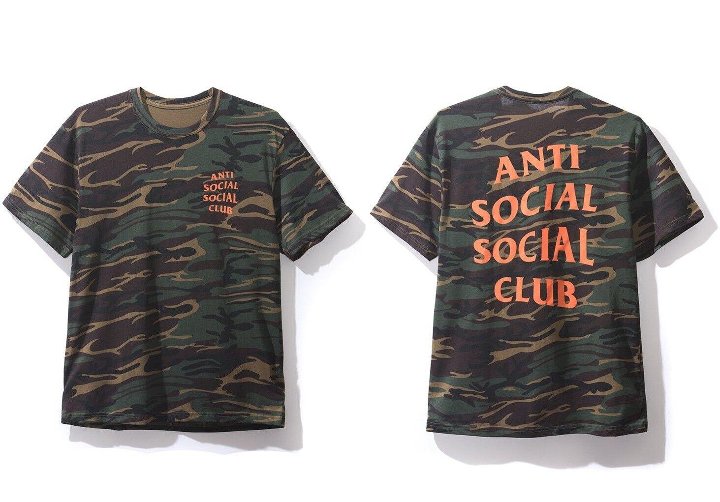 DS Anti Social Social Club ASSC orange Logo Green Ghost Camo Tee Shirt in hand