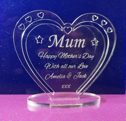 Personalised Heart with Message for Mummy Mother/'s Day Freestanding
