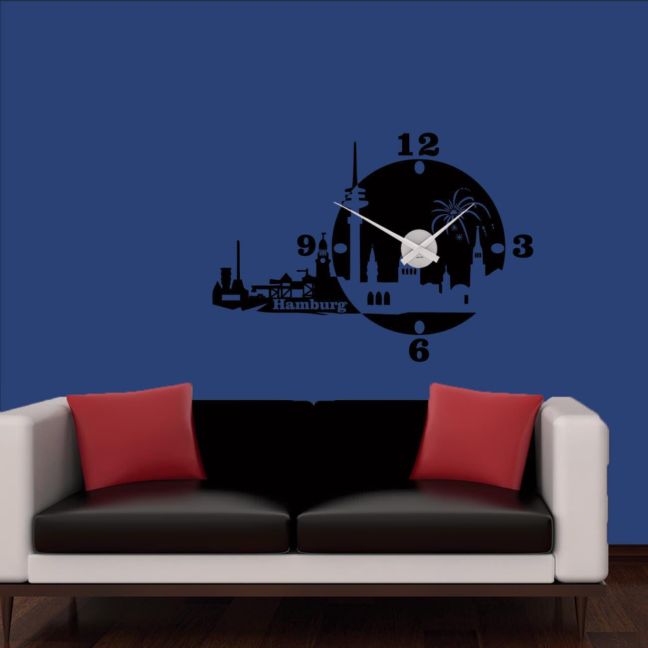 Mural Horloge Horloge Murale Karlsson Skyline Hambourg Horloge Ville +310+