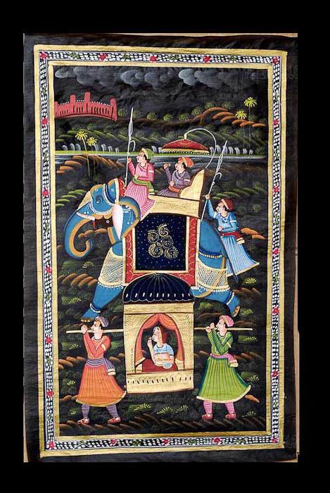 Wandbehang Malerei Mughal auf Seide Art Elefant Indien 71x49cm B16 1189