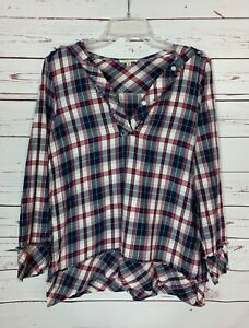 Crescent Stitch Fix Women's S Small Navy Plaid Long Sleeve Cute Blouse Top Shirt