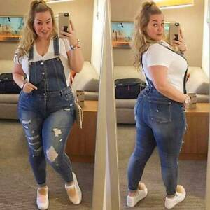 cheap for sale Sales promotion new appearance Details about US Women Denim Dungarees Ladies Slim Fit Ripped Jeans  Jumpsuit Rompers Plus Size
