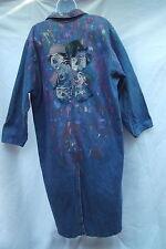 denim long coat jacket hand painted clown art vtg Sun Belt one size M L sparkle