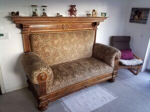 Antikes Grunderzeit Sofa Couch Nussbaum Neu Bezogen Neue