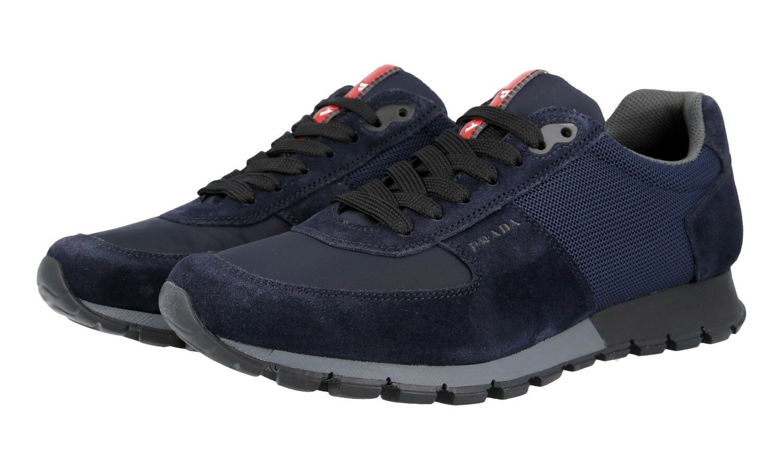 AUTH PRADA 42 41,5 EU 8.5 US bleu 4E2700 Chaussures paniers