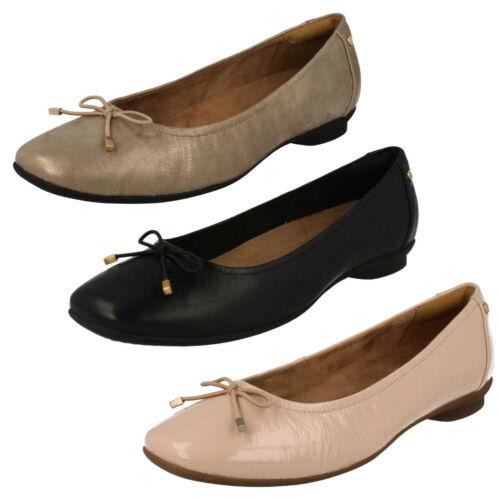 Femmes clarks candra light cuir smart à enfiler chaussures largeur e largeur