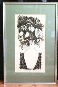 Mid-Century-Etching-KENJI-USHIKU-Hand-Signed-35-25-Limited-FLOWER-Framed