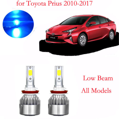 2pc Ice Blue LED Headlight Bulbs for Toyota Prius 2010-2017 Low Beam All Models